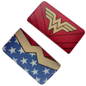 US! Movie Wonder Woman Wallet Bi-Fold Red Zipper Clutch Purse Cosplay Coin Bag