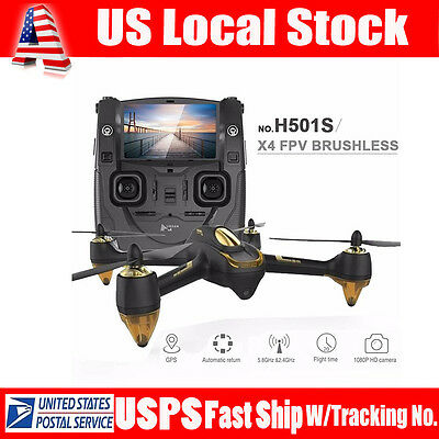 NEW! Hubsan H501S X4 5.8G FPV 10CH Brushless RC Quad Drone 1080P HD Camera GPS