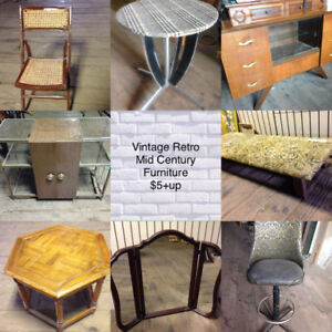 Furniture MidCentury Retro Vintage Chairs Tables Dressers $5-$99