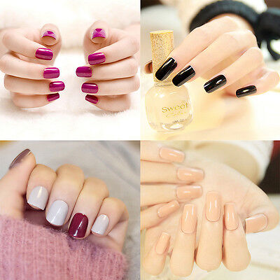 French Artificial Nail (Lady Artificial Full Nails Tips  Fake Matte French Manicure Nail Art Fashion)