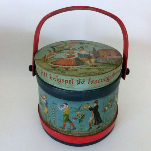 Hand Signed Old Folk Art Primitive Hand Painted Wooden Firkin Pail Bucket