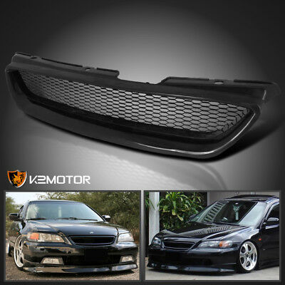 For 1998-2002 Honda Accord 2Dr Metal Mesh Front Hood Grill Grille ABS Black