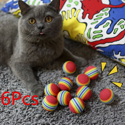 6Pcs Set Colorful Pet Cat Soft Foam Play Balls Catching Chewing Activity Toys