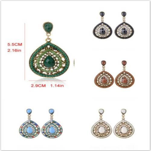 Women Crystal Rhinestone Dangle Earrings Pear Drop Shaped Fo
