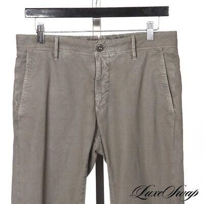 RECENT Incotex Slim Fit Pattern 30 Cotton Linen Olive Textured Pants Trousers NR