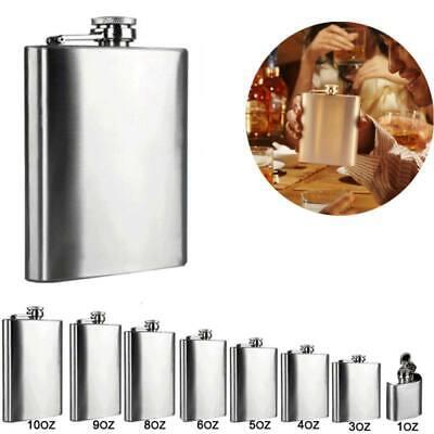 1-10oz Stainless Steel Hip Liquor Whiskey Alcohol Flask Cap Pocket Wine Bottle (Pocket Liquor Bottle)