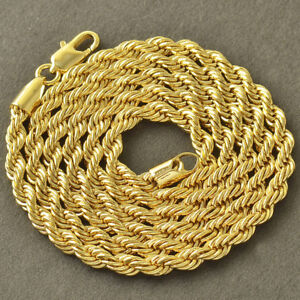 26 inches 18k Yellow Gold Mens Link Snake Rope Chain Necklace