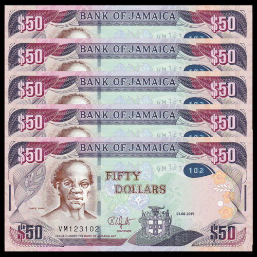Lot 5 PCS, Jamaica 50 Dollars, 2015, P-94, UNC