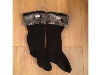 Hunter Fur Welly Sock Warmers. Size M - Uk 3-5