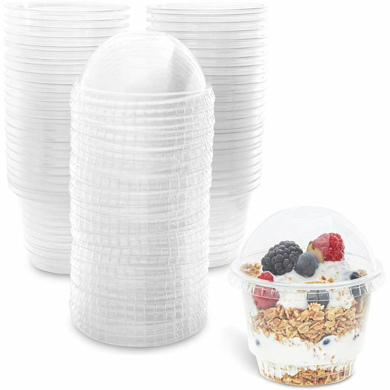Clear Plastic Ice Cream Cups with Lids (8 oz, 50 Pack)