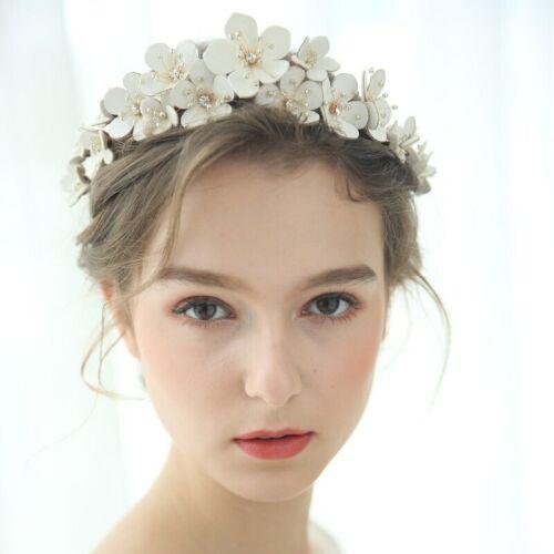 Gold bridal flower tiara headband