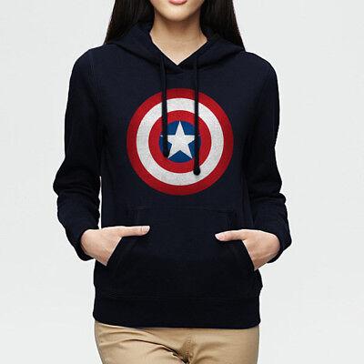 Fashion Captain America Logo Navy Blue Pullover Women's Hoodie Sweatshirt 126
