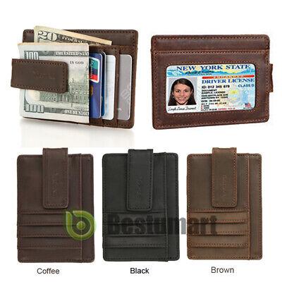 Men's Slim Leather Wallet Money Clip Credit Card ID Holder Pocket Super Thin New Super Slim Leather