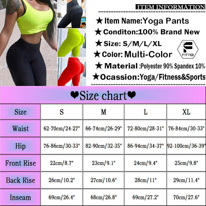 Women Ruched Push Up Leggings Yoga Pants Anti Cellulite Sport Scrunch Trousers 9