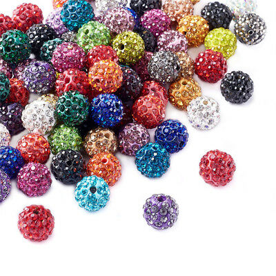 100 Pcs Glass Rhinestone Clay Pave Round Beads For Jewelry Making 10mm Hole 2mm