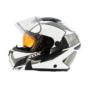 "Zox Brigade SVS Snow ""Skratch"" White Black Modular Helmet -NEW"