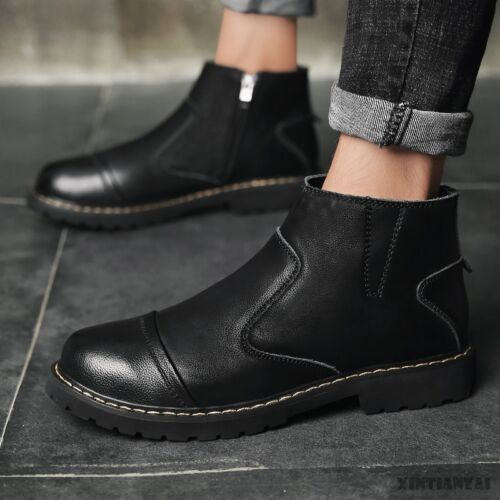 Details about mens fashion boots round toe ankle worker boots zipper simple elegant shoes @
