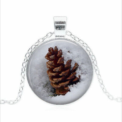 Pine Cone in Snow Tibet silver Glass dome Necklace chain Pendant Wholesale  Cone Glass Pendant