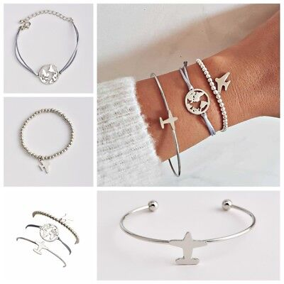 - Sweet Women Cuff Opening Bangle Chain Airplane Adjustable Open Bangle Bracelets