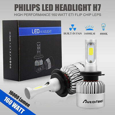 2pcs 160W 16000LM H7 PHILIPS LED Lamp Headlight Kit Car Beam Bulbs 6000K White