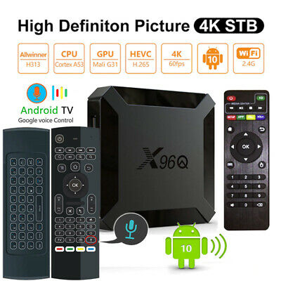 Allwinner X96Q Quad Core Android 10.0 WiFi TV Box+Air Mouse Keypad Voice Remote
