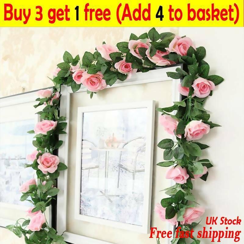 Home Decoration - 7 Ft Artificial Faux Flower Silk Rose Leaf Garland Vine Ivy Home Party Decor TA