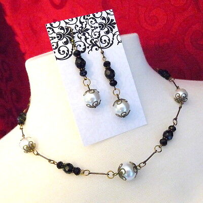 Victorian Style Jet Black Bead White Pearl Earring Necklace Set