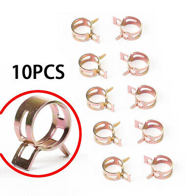 10X 10mm 3/8 Inch Spring Clips Vacuum Fuels Oil Hose Line Band Clamps Durable