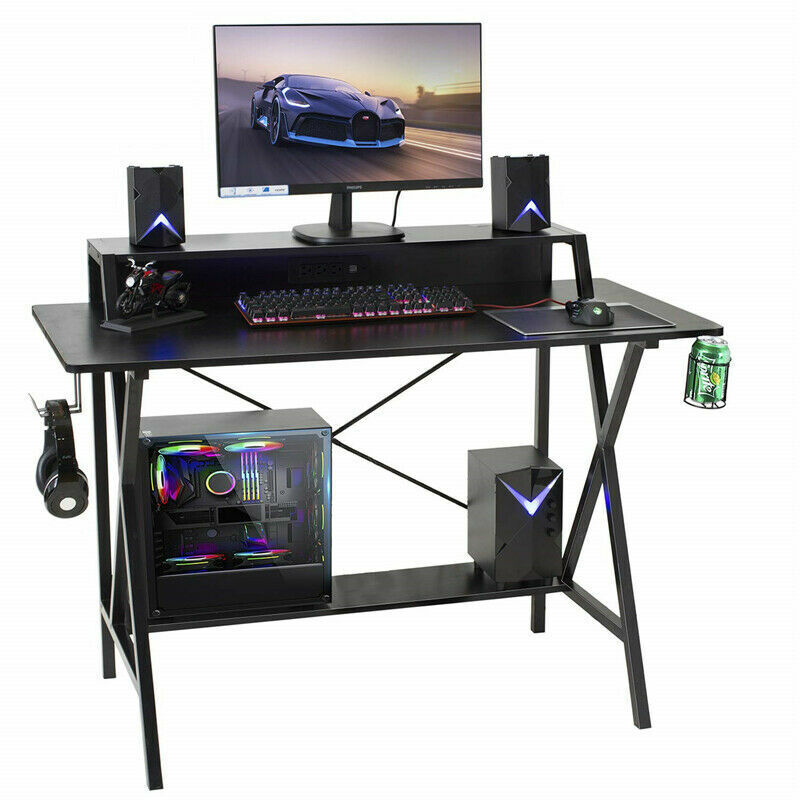 """47"""" Gaming Table Computer Desk Laptop PC Study Writing Table W/ USB & Cup Holder 3"""