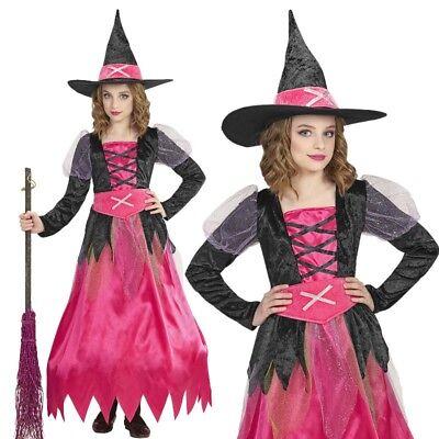 Halloween Kostüme Rosa Kleid (PINKE HEXE Mädchen Kinder Hexen Kostüm Gr. 104 Rosa Kleid + Hut Halloween #1525)