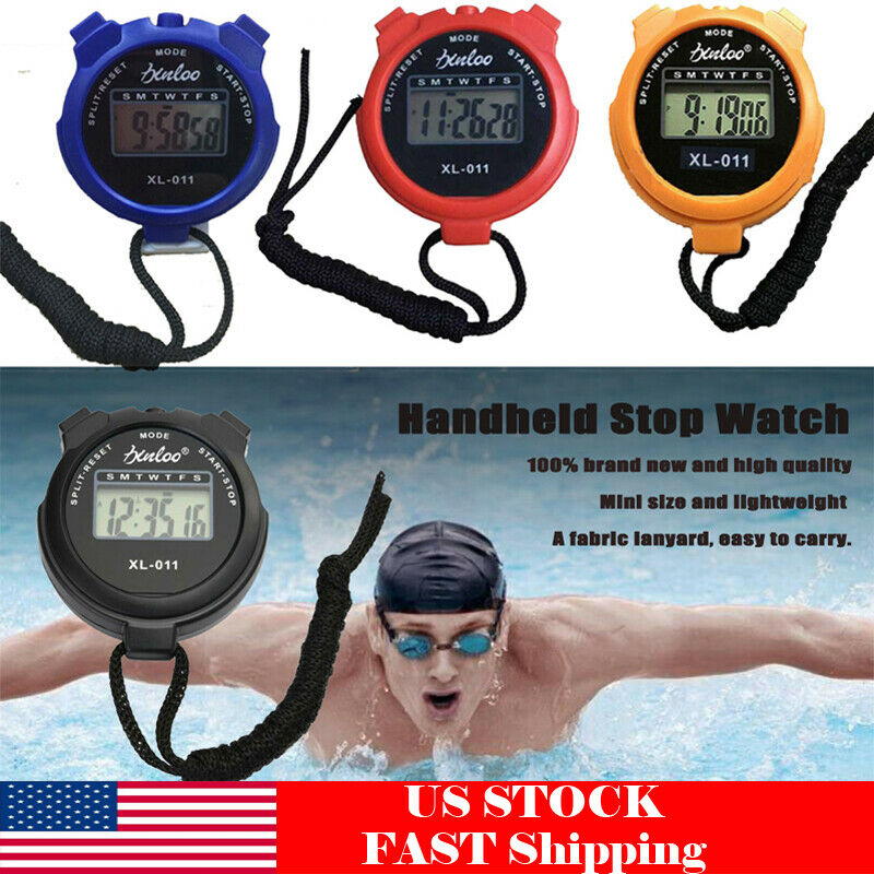 Electronic LCD Timer Digital Sport Stopwatch Chronograph Dat