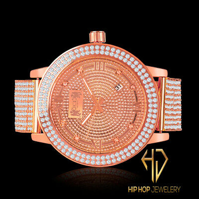 - 2 Row Bezel Rose Gold Genuine Diamond Joe Rodeo Roman Steel Mens Ice House Watch