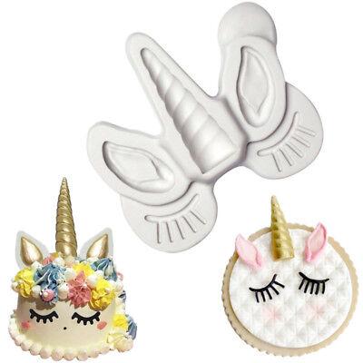 Unicorn Eye Ear Horn Silicone Mold Cupcake Cake Fondant Decorating Baking Tool