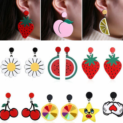 Charm Women Fruit Acrylic Ear Stud Pendant Dangle Eardrop Girls Jewelry Earrings