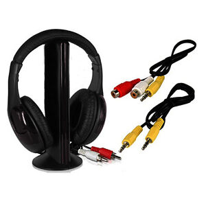 5 in 1 Wireless Headphone Earphone Black For MP3/MP4 PC TV CD FM Radio
