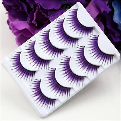 Creative Korean Purple False Eyelashes Thick Stage Color Fiber Hard Terrier New](Purple Eyelashes)