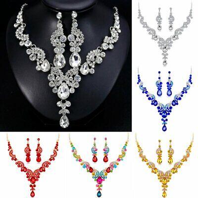 Vogue Prom Women Wedding Bridal Jewelry Crystal Rhinestone Necklace Earrings Set (Wedding Prom Crystal Rhinestone)