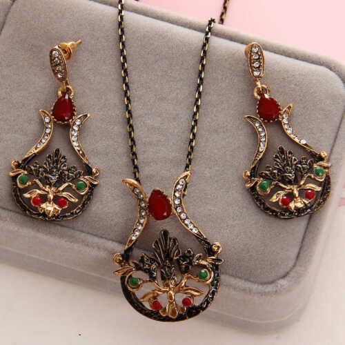 antique gold vintage necklace earring set hand Design Cocktal bridal
