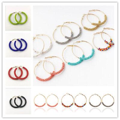 Fashion Handmade Seed Beads Boho Hoop Round Earrings Ear Stud For Women Jewelry ()