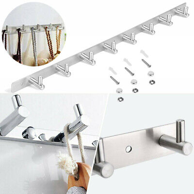 8-Hooks Wall Hanger Clothes Coat Hat Holder Rack Brushed 304 Stainless Steel USA