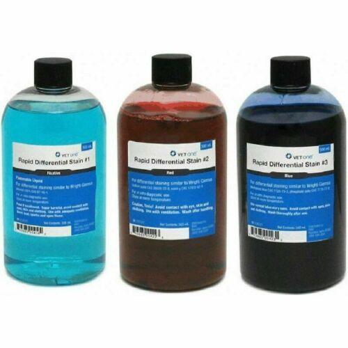 Vet Supply VETONE Rapid Differential Stain Refill Kit, Fixative/Red/Blue 500 ml