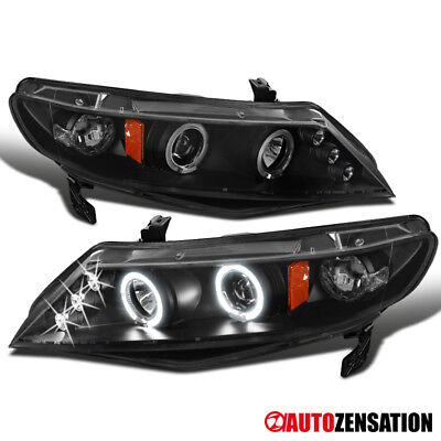 Fit 06-11 Honda Civic 4Dr Sedan Black LED DRL Halo Projector Headlights for sale  Shipping to Canada