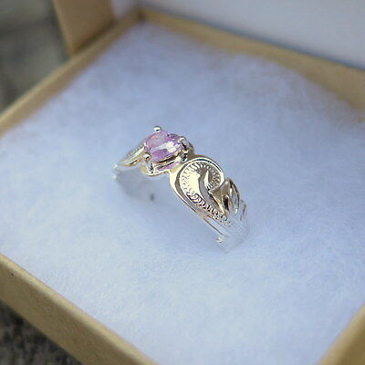 Hawaiian 925 Sterling Silver Scrolling Cut Out Pink Heart CZ Toe Ring TR1152