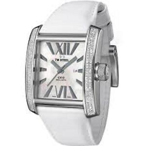 TW Steel Mens CE3015 CEO Goliath White Leather Strap Watch