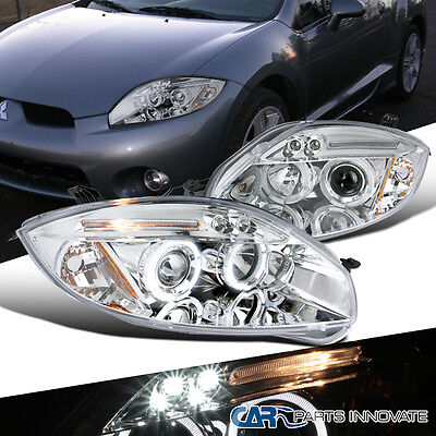 2006 2011 Mitsubishi Eclipse Chrome Led Halo Projector Headlights Driving Lamps