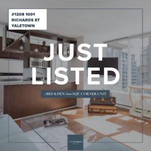 1 BED YALETOWN CORNER UNIT + DEN + SOLARIUM $748,800