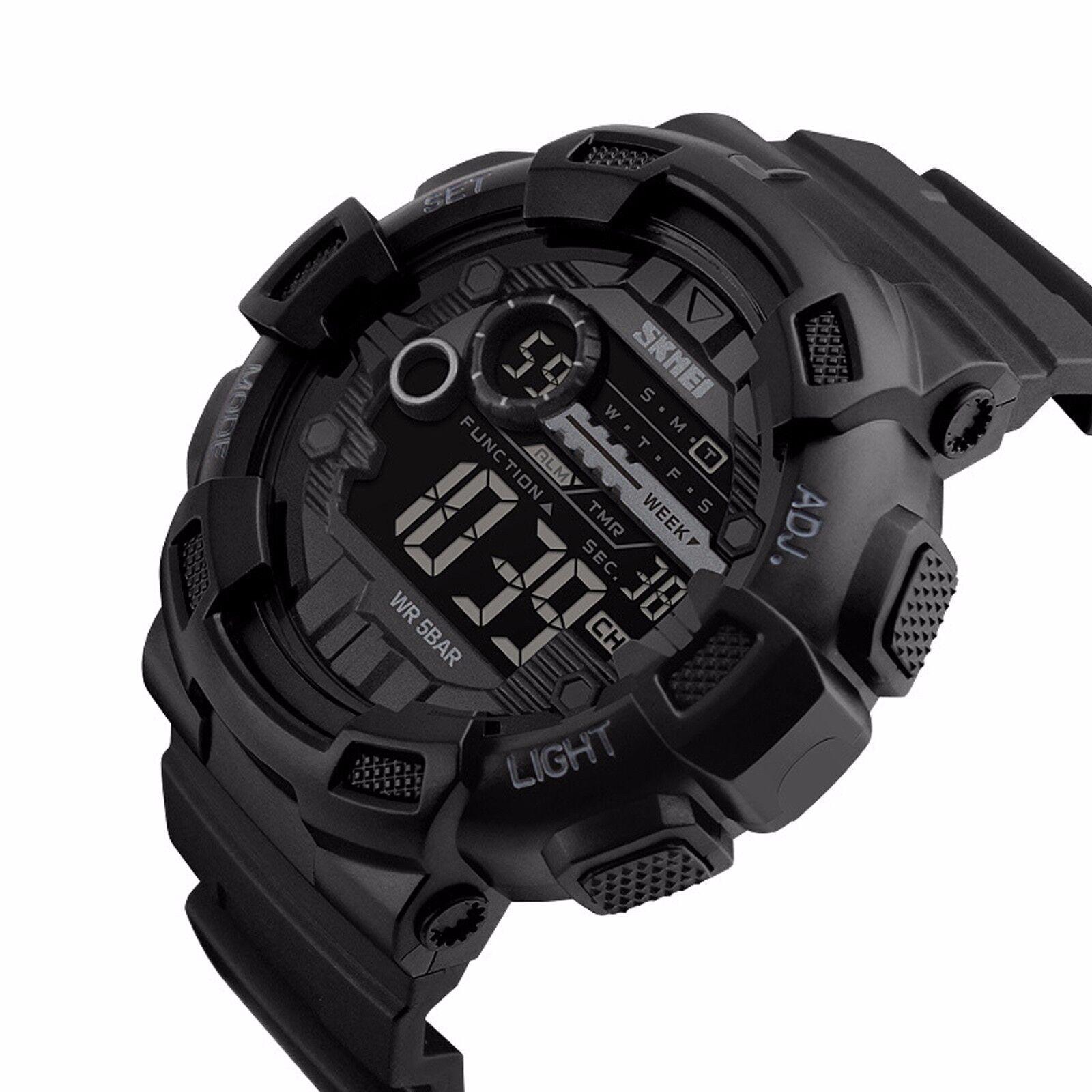 Men Military Sport Waterproof Alarm Stopwatch LED Quartz Cou