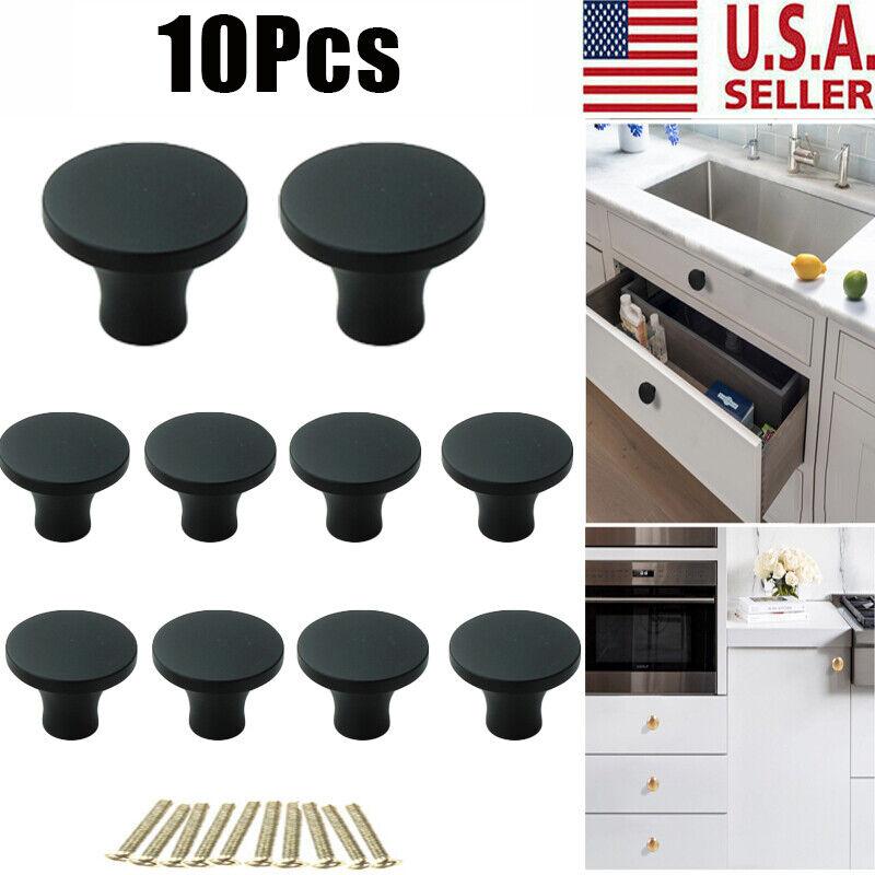 10PCS Cupboard Door Cabinet Cup Drawer Furniture Shell Pulls Handle Knob Black