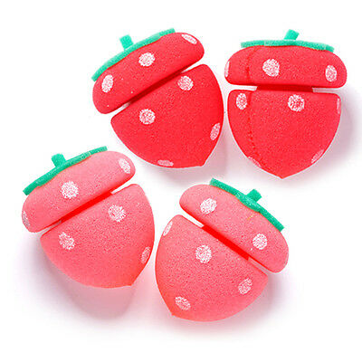 [ETUDE HOUSE] My Beauty Tool Strawberry Sponge Hair Roll 4pcs / Cute Hair roller