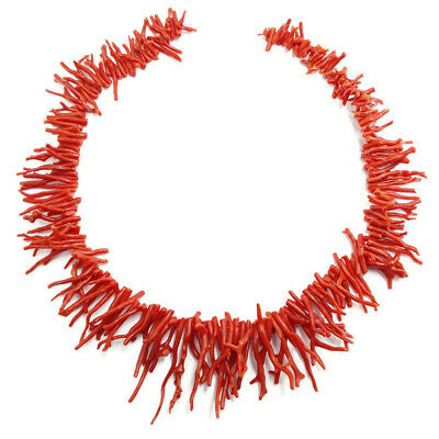 "100% Natural Italian Red Sea Coral Branch Stick Beads 20"" Strand for sale  Shipping to India"